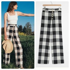 Anthropologie catie gingham wide leg trousers